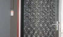 A227 Decorative diamond Alspec security grille, Aztec Silver, aluminium mesh, Satin chrome Austral lock.