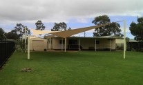 Childcare Dubbo Shade Sail AF350 Desert Sand, Primrose posts. View 1