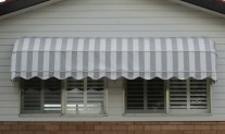 Dutch hood awning. Dickson acrylic grey stripe.