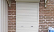Forceshield roller shutter, spring assisted, keylock, Primrose. Envirowest rear