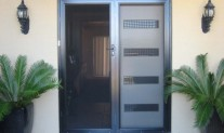 French double hinged screen doors, Screenguard frame, Black, stainless steel mesh, 3 point lock.