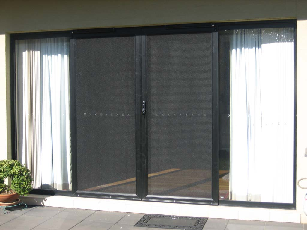 French Double Sliding Screen Doors, Screenguard Frame, Black, Stainless  Steel Mesh, 3 Point Lock, Retractable Closers.   BnH Orange
