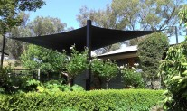 Hypar Shade Sail, Black fabric and posts. View 2