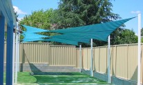 Hypar sails, Rainbow Shade Z16 BlueGreen stripe. preschool