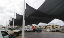Planar Shade Sails, Architec 400 Slate Grey under view