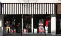 Shopfront Awning Docril acrylic 014 black stripe, straight trim, black J hooks