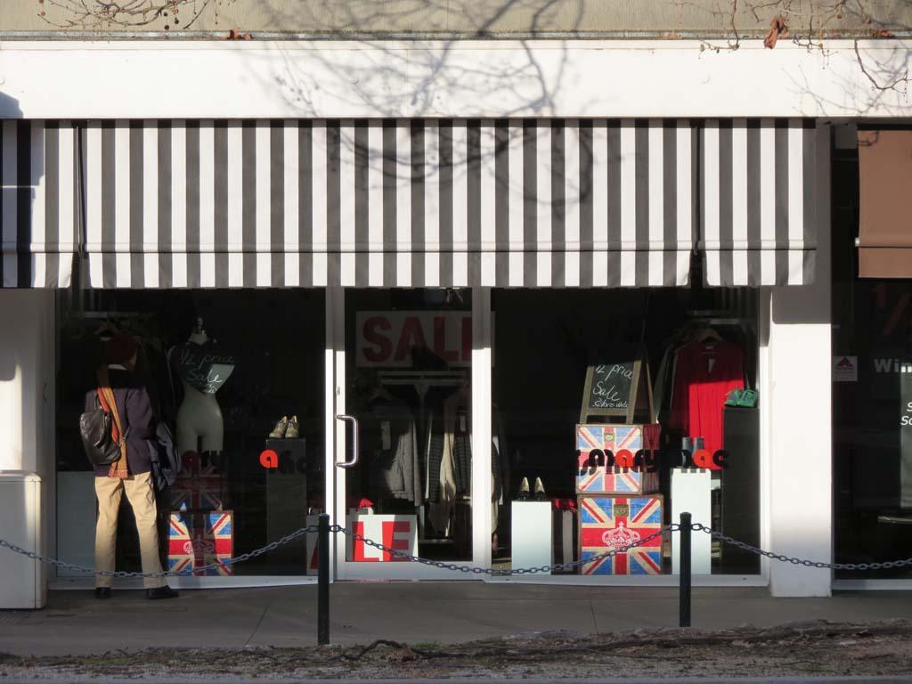 Shopfront Awning Docril Acrylic 014 Black Stripe Straight