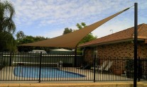 Triangular Shade sail - Polyfx Sandstone, Black posts