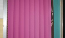Vertical drape 100mm Mini Dawn Bubblegum, White Slimline track, chainless weights