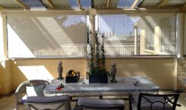 verandah awning wire guide, screen mesh, internal view